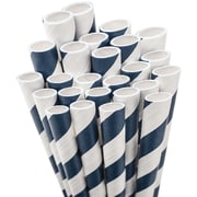 "Aardvark STRAW-NBLUE Jumbo Unwrapped Striped Navy Blue Straws, 7.75"", 50/Pack"
