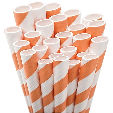 Aardvark® 7 3/4in. Jumbo Unwrapped Striped Straws, Orange/White, 50/Pack