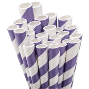 "Aardvark STRAW-PURPL Jumbo Unwrapped Striped Purple Straws, 7.75"", 50/Pack"