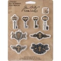 Advantus™ Tim Holtz® Idea-Ology Metal Locket Keys & Keyholes, 1 1/4in. x 3/4in., Antique