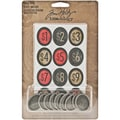 Advantus™ Tim Holtz® Idea-Ology Metal Cash Keys Charms, 1in. x 3/4in., 7/Pack, Antique Nickel