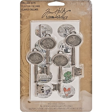 Advantus™ Tim Holtz® Idea-Ology Collage Keys, 2 3/4in. x 1in., Antique Silver