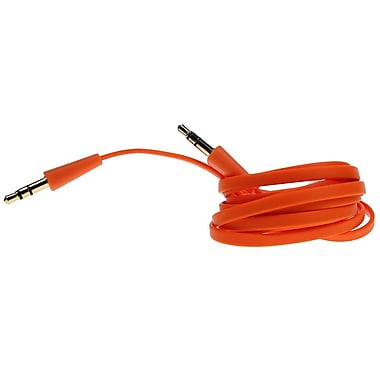 Logiix Flat Flex Aux 3.5 mm Cable, Orange, LGX-10567
