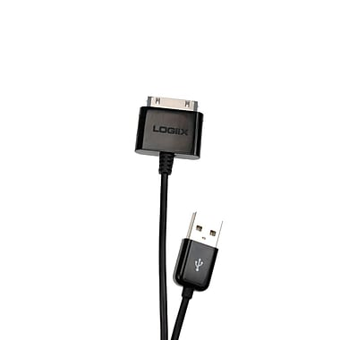 Logiix Sync and Charge Cable, 30-Pin Connector to USB, 1 Meter, Black, LGX-10043