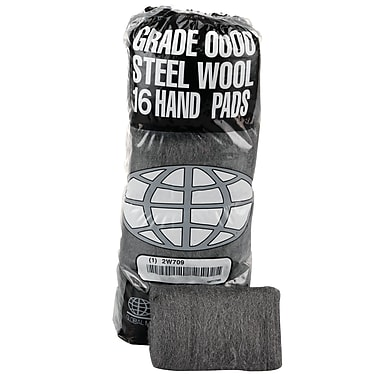 Global Material Super Fine #0000 Steel Wool Hand Pad, Gray