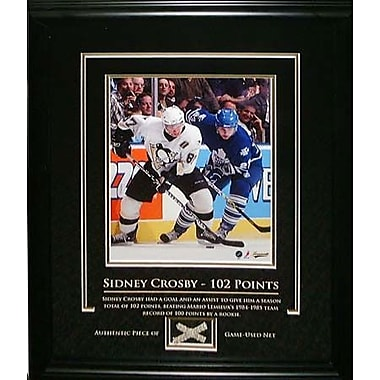 Sidney Crosby Framed with Piece Of Game Used Net - 102nd Point