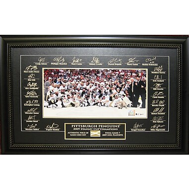 Pittsburgh Penguins 2009 Stanley Cup Team Framed photo, Etched Signatures & Piece of Game Used Net