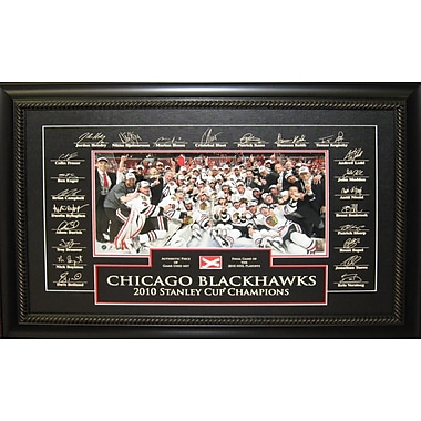 Chicago Blackhawks 2010 Stanley Cup Team Framed photo, Etched Signatures, and Piece Game Used Net