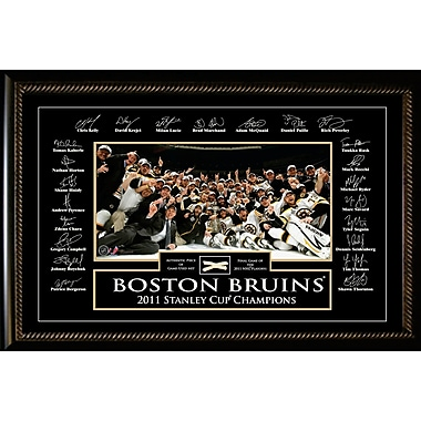 Boston Bruins 2011 Stanley Cup Team Framed photo, Etched Signatures, and Piece of Game Used Net