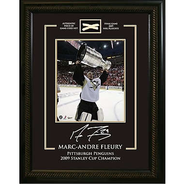 Marc-Andre Fleury Framed Photo, Etched Signature, and Piece of Game Used Net from the Penguins 2009 Stanley Cup
