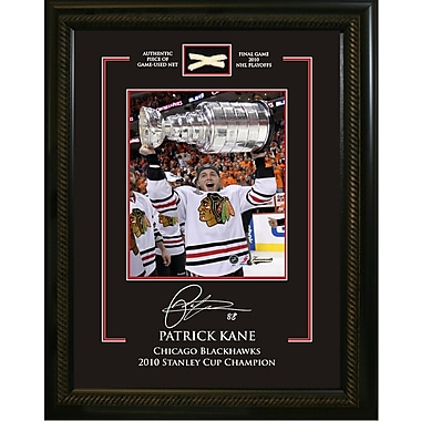 Patrick Kane Framed Photo, Etched Signature, and Piece of Game Used Net from the 2010 Stanley Cup