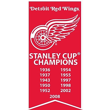 Detroit Red Wings Stanley Cup Banner Canvas, with Team Logo