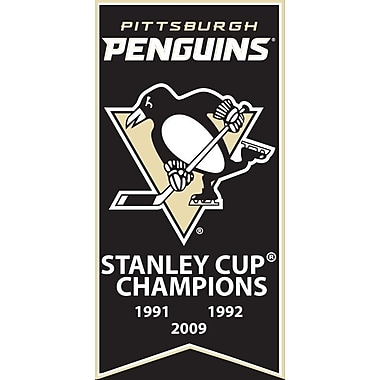 Pittsburgh Penguins Stanley Cup Banner Canvas, with Team Logo