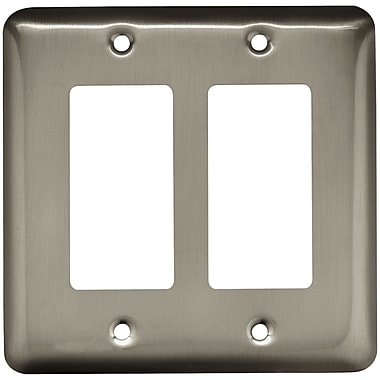 Brainerd® Stamped Round Double Decorator Wall Plate, Satin Nickel, 3/Pack