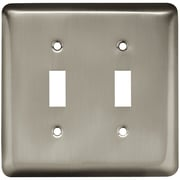 Brainerd® Stamped Round Double Switch Wall Plate, Satin Nickel, 3/Pack