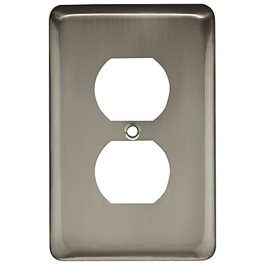 Brainerd® Stamped Round Single Duplex Wall Plate, Satin Nickel