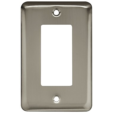 Brainerd® Stamped Round Single Decorator Wall Plate, Satin Nickel, 5/Pack