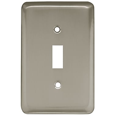 Brainerd® Stamped Round Single Switch Wall Plate, Satin Nickel
