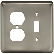 Brainerd® Stamped Round Single Switch and Duplex Wall Plate, Satin Nickel, 3/Pack