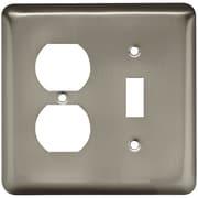 Brainerd® Stamped Round Single Switch and Duplex Wall Plate, Satin Nickel, 3/Pack