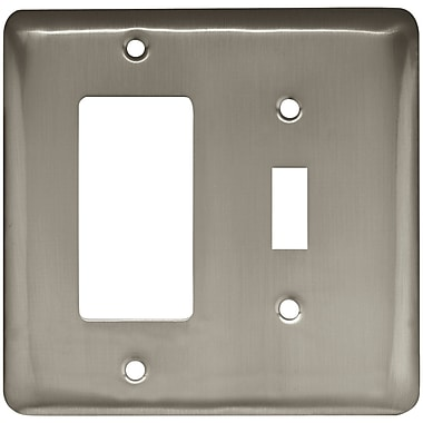 Brainerd® Stamped Round Single Switch and Decorator Wall Plate, Satin Nickel, 3/Pack