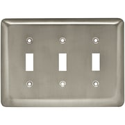 Brainerd® Stamped Round Triple Switch Wall Plate, Satin Nickel, 2/Pack