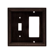 Brainerd® Beaded Single Switch/Decorator Wall Plate, Venetian Bronze, 2/Pack