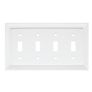 Brainerd® Architectural Quad Switch Wall Plate, White