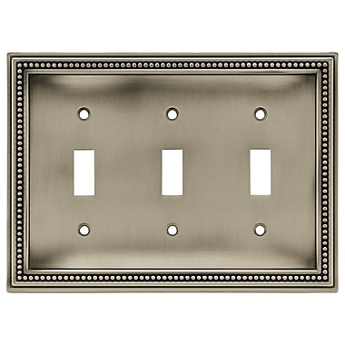 Brainerd® Beaded Triple Switch Wall Plate, Brushed Satin Pewter, 2/Pack
