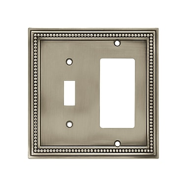 Brainerd® Beaded Single Switch/Decorator Wall Plate, Brushed Satin Pewter, 2/Pack