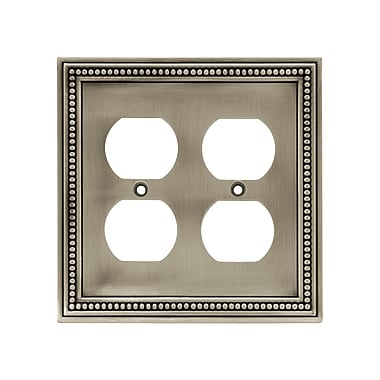 Brainerd® Beaded Double Duplex Wall Plate, Brushed Satin Pewter, 2/Pack