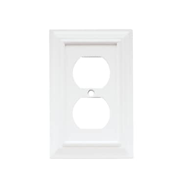 Brainerd® Architectural Single Duplex Wall Plate, White, 5/Pack