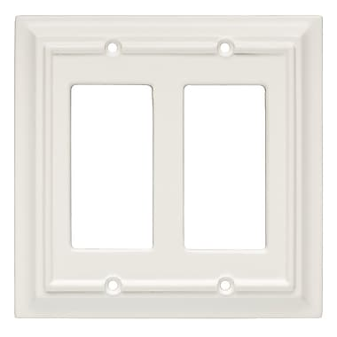 Brainerd® Wood Architectural Double Decorator Wall Plate, White, 2/Pack