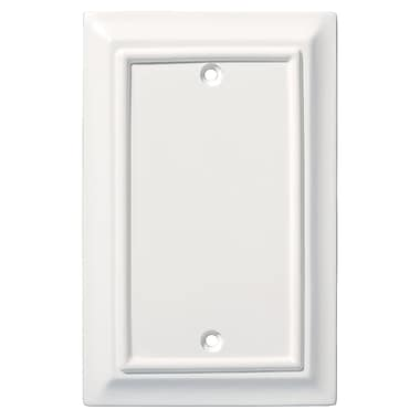 Brainerd® Architectural Single Blank Wall Plate, White, 2/Pack