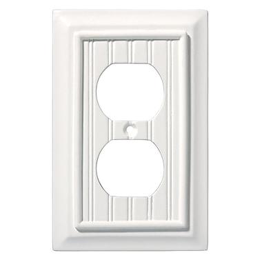Brainerd® Beadboard Single Duplex Wall Plate, White, 3/Pack