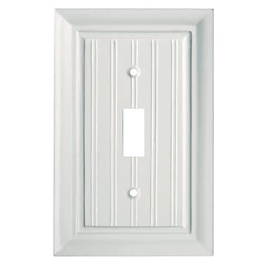 Brainerd® Beadboard Single Switch Wall Plate, White, 3/Pack