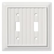 Brainerd® Beadboard Double Switch Wall Plate, White, 2/Pack