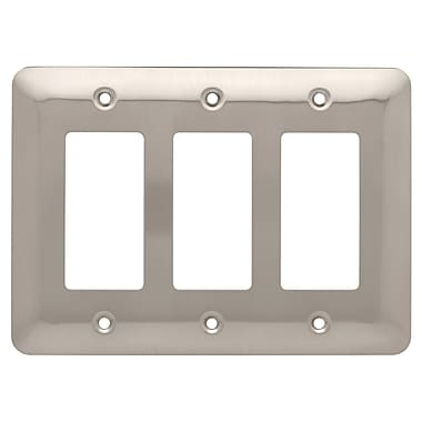 Brainerd® Stamped Round Triple Decorator Wall Plate, Satin Nickel, 2/Pack