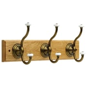 18 inch Coat Rack with 3 Hooks with Porcelain Ends