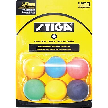 One Star Table Tennis Balls, Multi Colour, 6/Pack