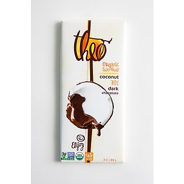 Theo Chocolate Organic Fair Trade Toasted Coconut Dark Chocolate Bars, 3 oz. Bars, 12/Pack