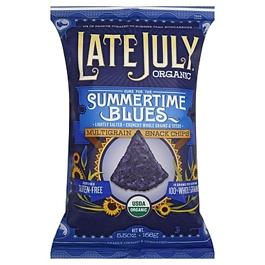 Late July Organic Snacks Multigrain Tortilla Chips, Summertime Blues, 5.5 oz., 8/Pack