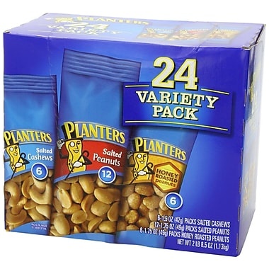 Planters Nut Salted Cashew Salted Peanut Honey Roasted Peanut Variety Pack, 48/Pack