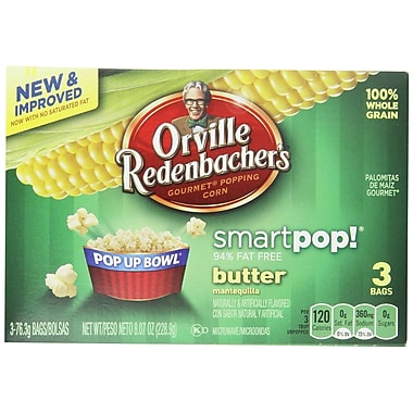 Orville Redenbacher s Microwavable Smart Pop Butter Pop Up Bowl, 2.7 oz., 18/Pack