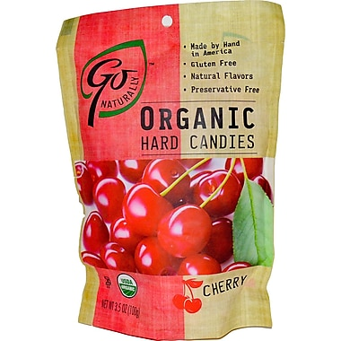 Go Naturally Organic Cherry Hard Candy, 3.5 oz. Bag, 12/Pack