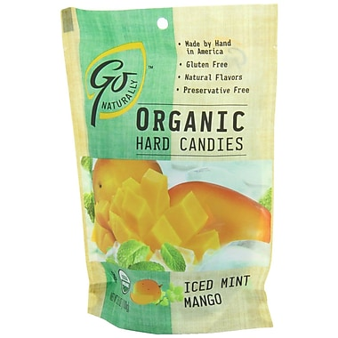 Go Naturally Organic Iced Mint Mango Hard Candy, 3.5 oz. Bag, 12/Pack