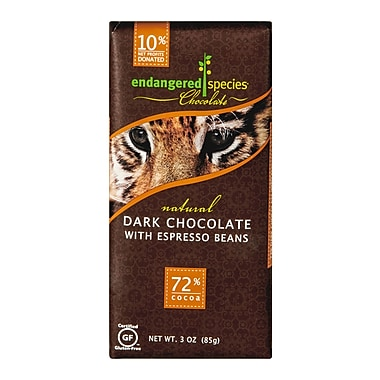 endangered species® 3 oz. All-Natural 72% Cocoa Dark Chocolate With Espresso Beans, Tiger, 12/Pack