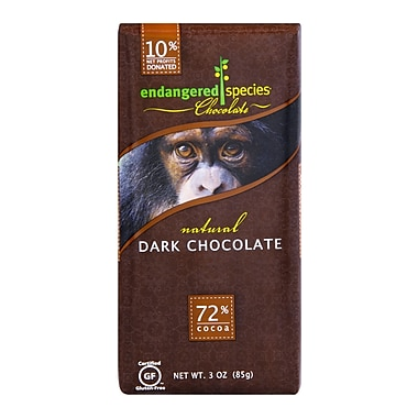 endangered species® 3 oz. All-Natural 72% Cocoa Supreme Dark Chocolate, Chimpanzee, 12/Pack