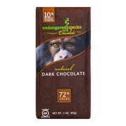 endangered species 3 oz. All-Natural 72% Cocoa Supreme Dark Chocolate, Chimpanzee, 12/Pack