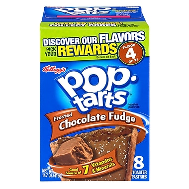 Kelloggs Pop-Tarts Frosted Chocolate Fudge Toaster Pastries, 15.2 oz. Box, 6/Pack